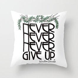 Churchill Quote With Birch and Leaves Throw Pillow