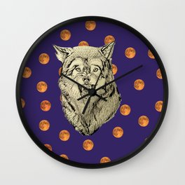 Wolf and Moons Wall Clock