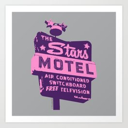 Seeing Stars ... Motel ... (Purple/Pink/Grey) Art Print