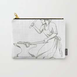 Female Blacksmith at Work Doodle Art Carry-All Pouch