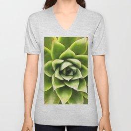 Green Succulent Close Up Unisex V-Neck