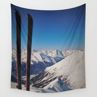 ski Wall Tapestries featuring ski by Vi Glory