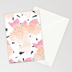Modern pink ombre coral watercolor floral illustration pattern black brushstrokes Stationery Cards