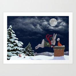 White Rabbit Christmas Art Print