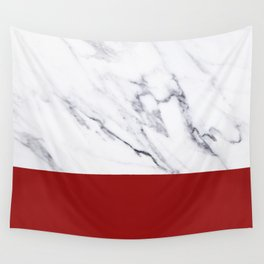 White Marble Red Hot Striped Wall Tapestry