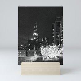 Chicago at Night Black & White Mini Art Print