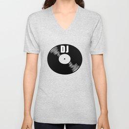 Dj record music logo Unisex V-Neck