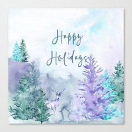 Watercolor Happy Holidays Winter Wonderland Canvas Print