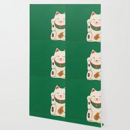 Green Lucky Cat Maneki Neko Wallpaper