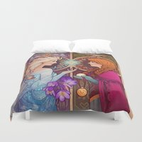 snow Duvet Covers featuring Let Me In by Megan Lara