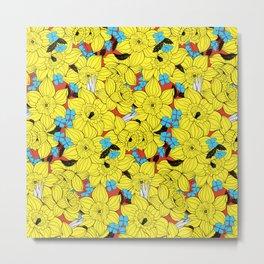 Daffodils spring floral pattern Metal Print