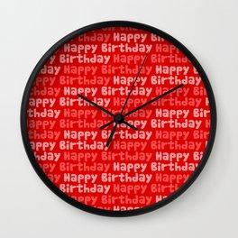 Happy Birthday on Red Wall Clock