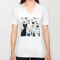 kittens V-neck T-shirts featuring Halloween Kittens  by Carly Watts
