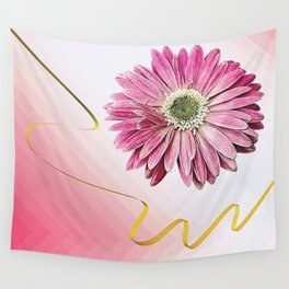 pink gerbera daisy with ribbon Wall Tapestry