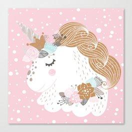 I Love Unicorns ink Unicorn Head Baby's Nursery nd Girls Room Decor Canvas Print