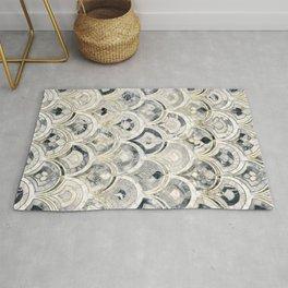 Monochrome Art Deco Marble Tiles Rug