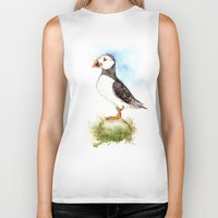 puffin Biker Tanks featuring Puffin on a Rock by Goosi