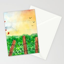 Sunset Landscape Watercolor Stationery Cards