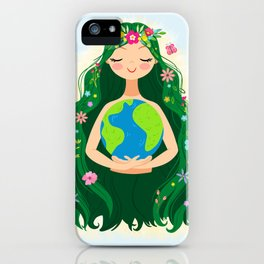 Beautiful Flowing Flower Earth Mother Figure iPhone Case