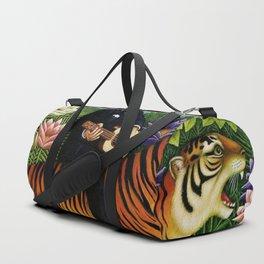 Henri Rousseau Dreaming of Tigers tropical big cat jungle scene by Henri Rousseau Duffle Bag