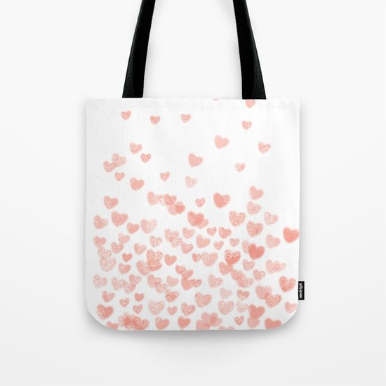 Hearts falling painted pastels heart pattern minimal art print nursery baby art Tote Bag