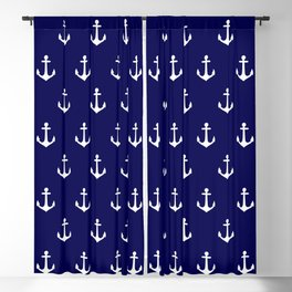 Maritime Nautical Blue and White Anchor Pattern Blackout Curtain