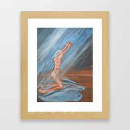 The rain advancing: female, rain Framed Art Print