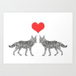 Foxes. Art Print
