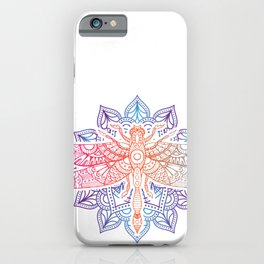 Magical Mandala Dragonfly. Psychedelic Colorful Dragonfly print iPhone Case