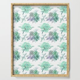 Succulents Mint Green Lavender Lilac Violet Pattern Serving Tray