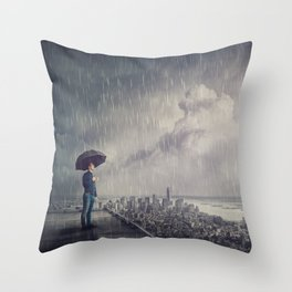 under rain Throw Pillow