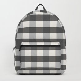 Grey and Pottery White Plaid Gingham Buffalo Check Farmhouse Country Canvas digital texture Backpack