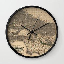 Los Angeles California Vintage Map Wall Clock