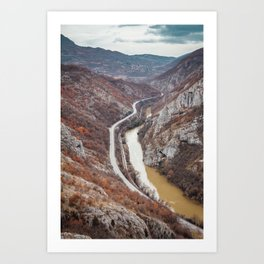 Beautiful picture of the canyon in Serbia. Dramatic sky and mountains Art Print