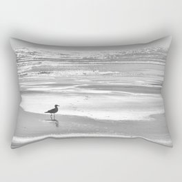 BIRDIE WALKING ON THE BEACH AT SUNSET - BLACK AND WHITE Rectangular Pillow