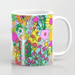 60's Groovy Garden in Blue Coffee Mug