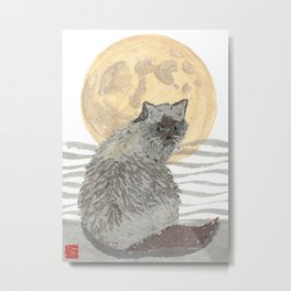 CAT, Moon, Mixed Media Metal Print