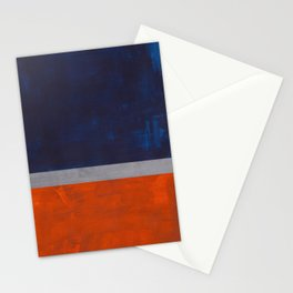 Minimalist Mid Century Rothko Color Field Navy Blue Dark Orange Grey Accent Square Color Block Stationery Cards