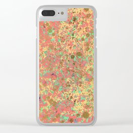 Living Coral, Turquoise and Patina Gold Design Clear iPhone Case