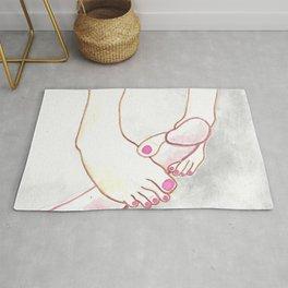 SEX FETISH ART penis and feet cock dick kinky paintings toes red pink toenails watercolor originals modern couple man woman stickykitties Rug