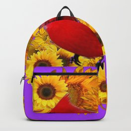 RED CARDINAL & YELLOW SUNFLOWERS PANTENE PURPLE Backpack