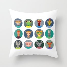 Chinese zodiac collection, Set of animals faces circle icons in Trendy Flat Style Throw Pillow