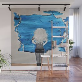 Blue Sky and the Future Painting by Jodi Tomer. Blonde Girl Portrait Wall Mural