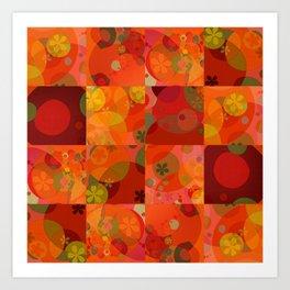 """Circles & Flowers Cartoon"" Art Print"
