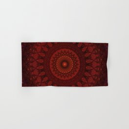 Dark and light red mandala Hand & Bath Towel