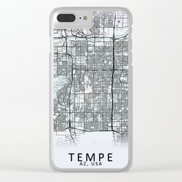 Tempe, AZ, USA, White, City, Map Clear iPhone Case