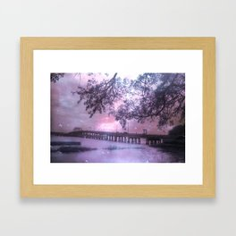 Surreal Purple Romantic South Carolina Coastal Bridge Framed Art Print