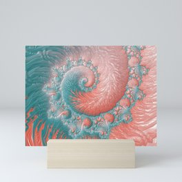 Living Coral Teal Blue Spiral Swirl Pattern Abstract Coral Reef Fractal Mini Art Print