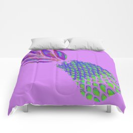 Neon Pineapple Punch on textured pink Comforters