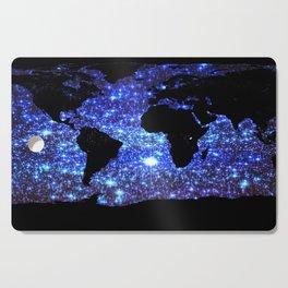 world Map Blue Swirl Galaxy Sparkle Cutting Board